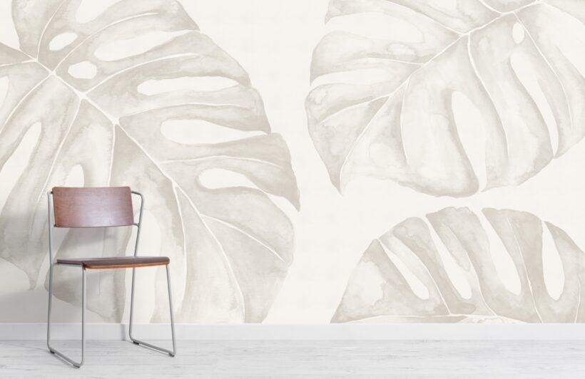 neutral-watercolour-monstera-leaf-wallpaper-mural