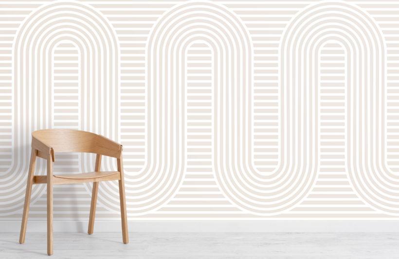 neutral zen garden curves & stripes wallpaper mural