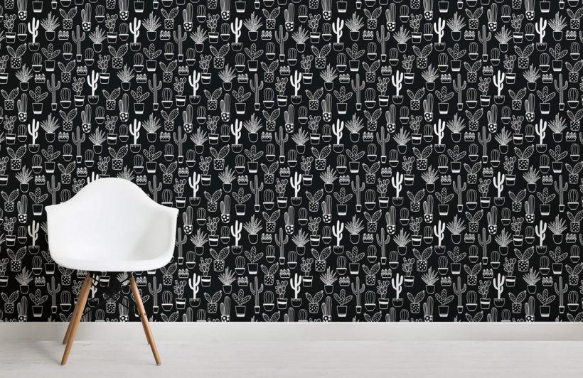 niave cactus - black and white - room - mw - kj wall mural