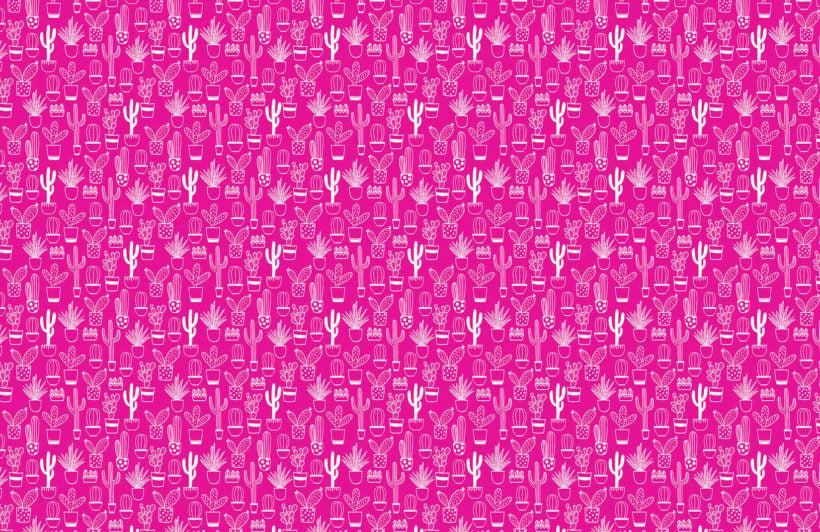 niave cactus - pink - plain - mw - kj wall mural