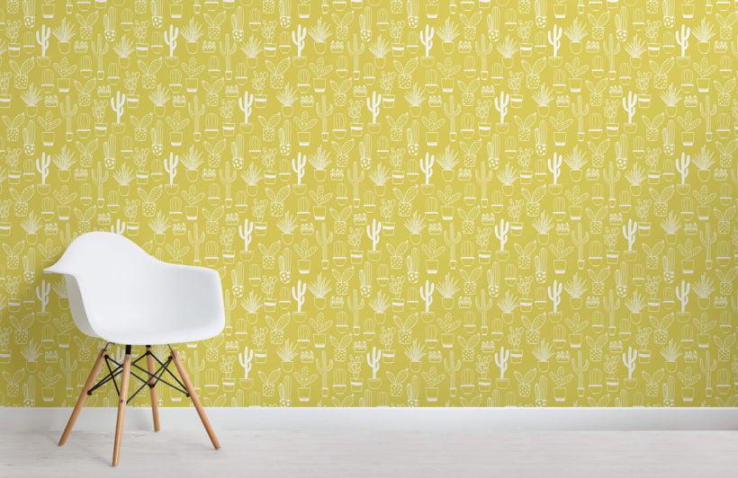 niave cactus - yellow - room - mw - kj wall mural