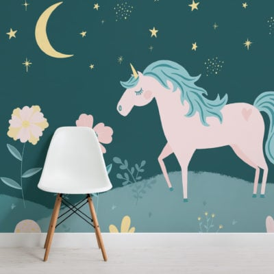 night-sky-&-flowers-unicorn-wallpaper-mural