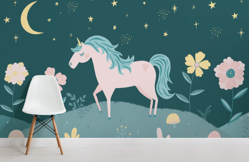night-sky-&-flowers-unicorn-wallpaper-mural