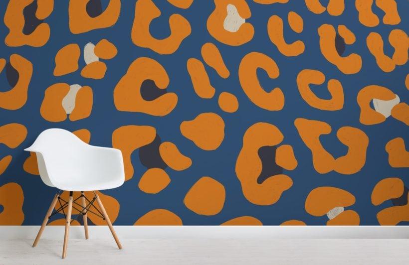 orange and blue leopard animal print wallpaper mural