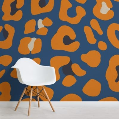 orange and blue leopard animal print wallpaper mural