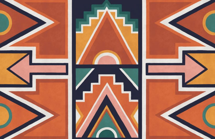 orange and blue ndebele print african style wallpaper mural