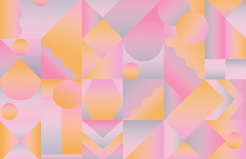 orange and pink geometric gradient wallpaper mural