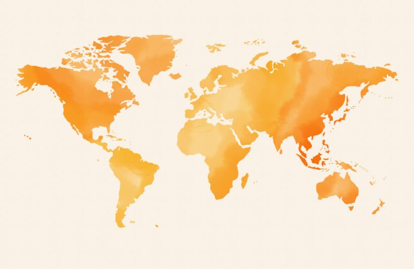 orange and yellow abstract watercolour world map wallpaper mural