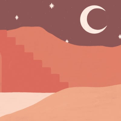orange desert & moon painted landscape wallpaper mural
