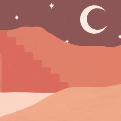 orange desert & moon painted landscape wallpaper mural