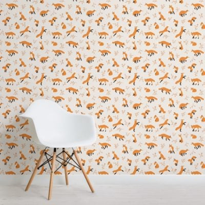 orange fox repeat pattern wallpaper mural
