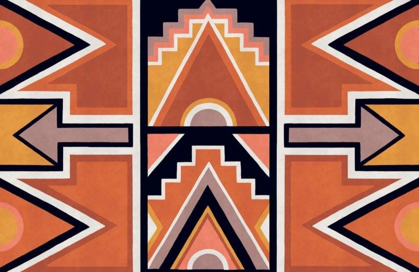 orange ndebele print african style wallpaper mural