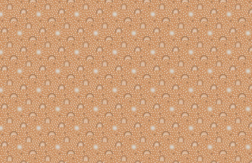 orange neutral hand-painted rainbow repeat pattern wallpaper
