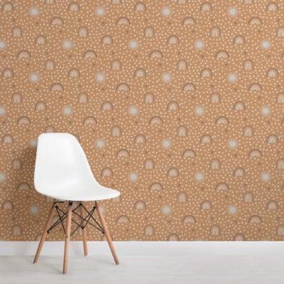orange neutral hand-painted rainbow repeat pattern wallpaper