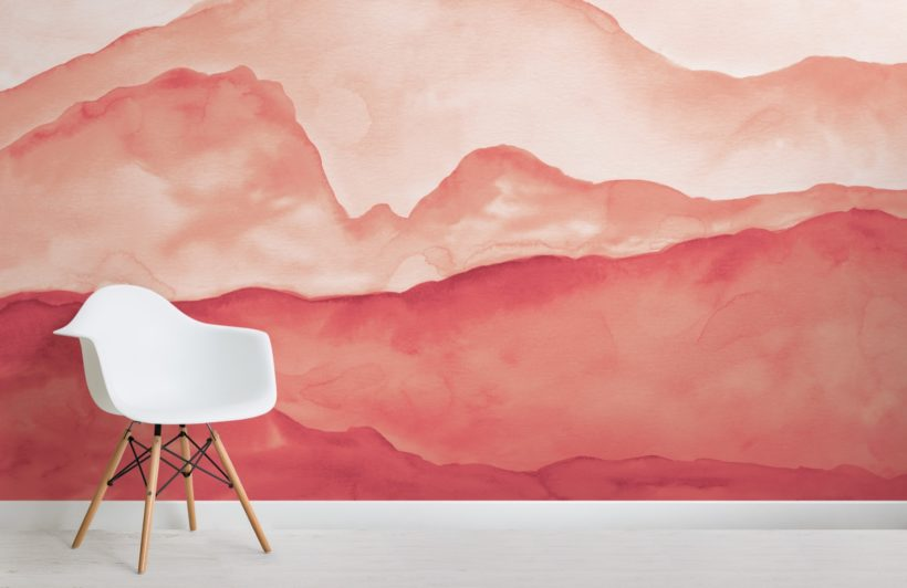 orange peaceful mountainscape wallpaper mural