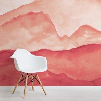 orange peaceful mountainscape wallpaper mural