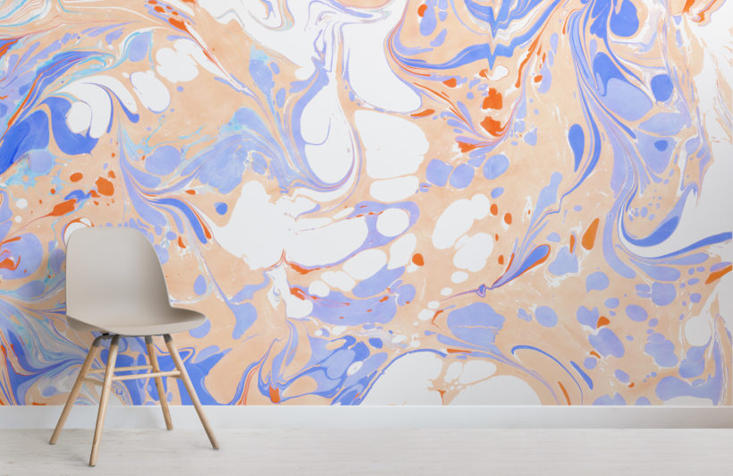 orange & purple marbled wallpaper mural