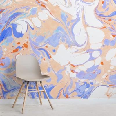 orange & purple marbled wallpaper mural