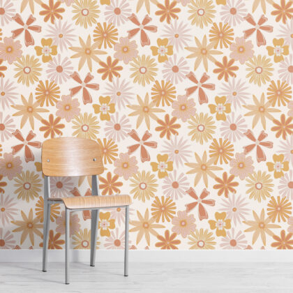 Orange Retro 70s Floral Repeat Pattern Wallpaper Image