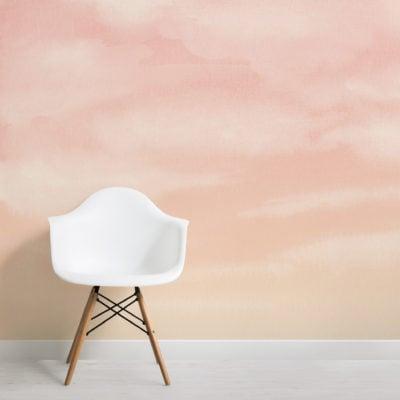 orange sunset watercolour cloud and sky wallpaper mural