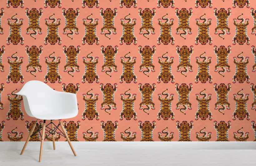 orange tibetan tiger pattern wallpaper mural