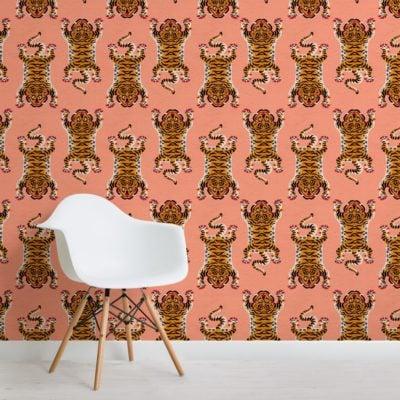 orange tibetan tiger pattern wallpaper mural