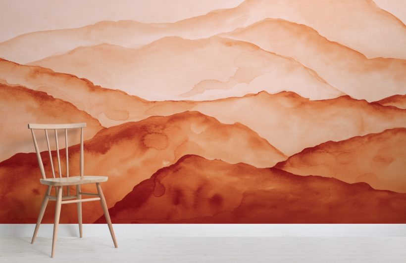 orange watercolour peaceful mountain wallpaper mural