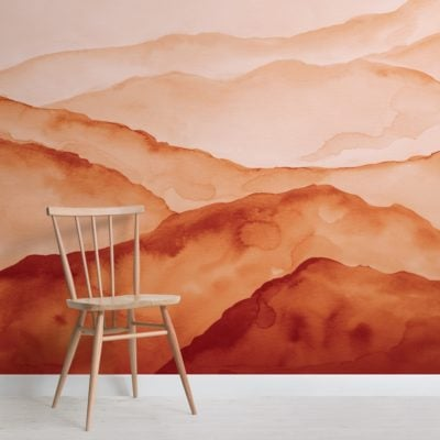 orange watercolour peaceful mountain wallpaper mural
