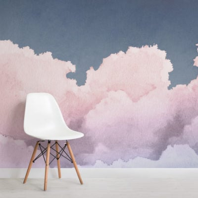 painted pastel pink and blue sunset clouds wallpaper mural