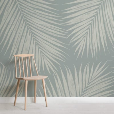 pale blue illustrated tropical palm leaf wallpaper mural
