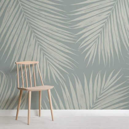 Pale Blue Illustrated Tropical Palm Leaf Wallpaper Mural Image