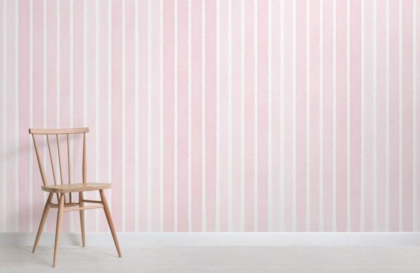 pale pink watercolour striped wallpaper mural