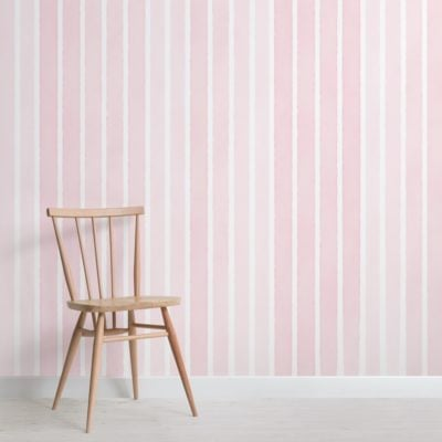 pale pink watercolour striped wallpaper mural