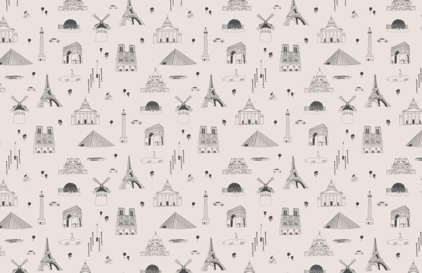 paris-city-landmarks-grey-and-white-repeat-pattern-wallpaper