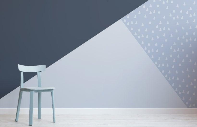 pastel blue navy triangle prism geometric wallpaper mural