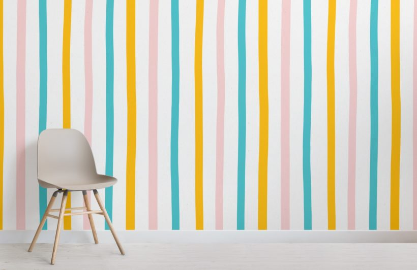 pastel colourful stripe wallpaper mural