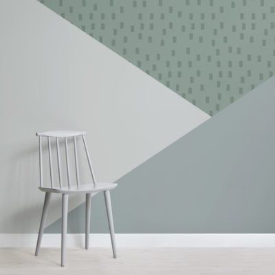 pastel green geometric triangle prism wallpaper mural