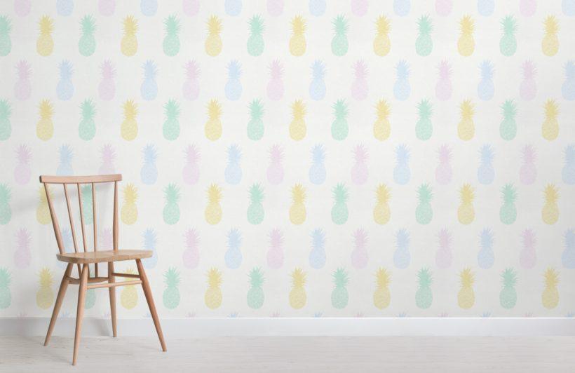 pastel pineapple pattern wallpaper mural