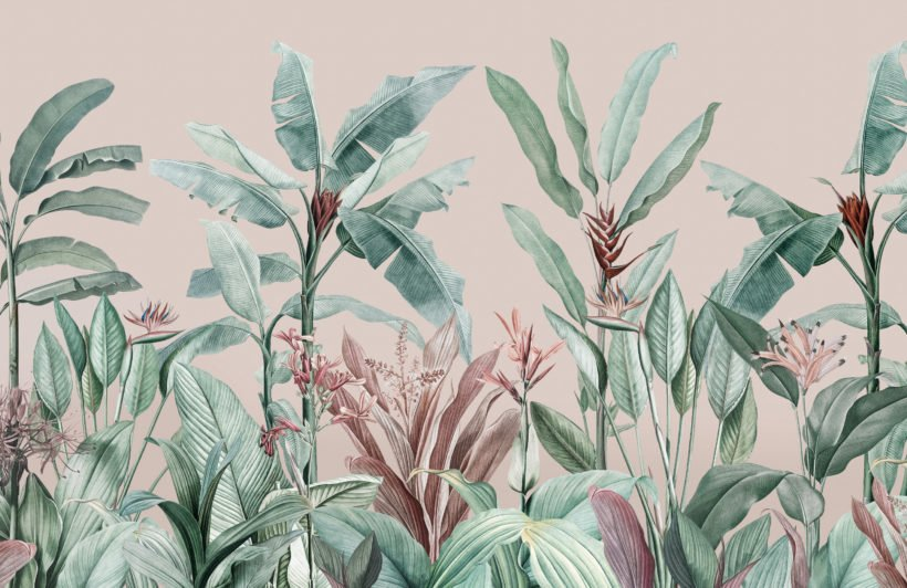 pastel pink and green vintage tropical wallpaper mural