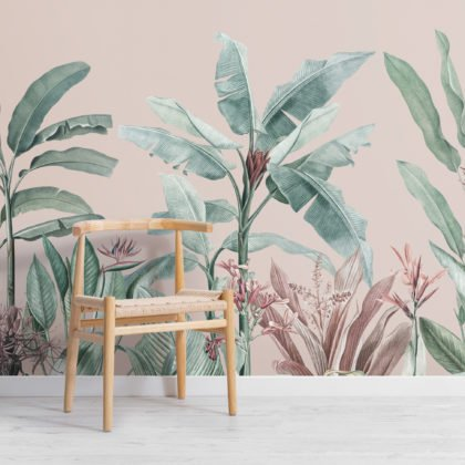 Pastel Pink & Green Vintage Tropical Wallpaper Mural Image