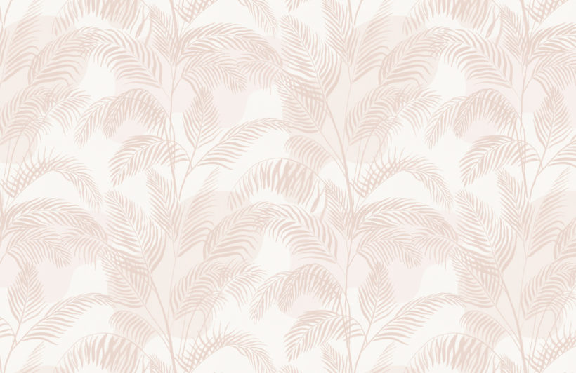 pastel pink inky tropical pattern wallpaper mural