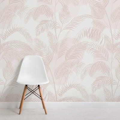 pastel pink inky tropical pattern wallpaper mural