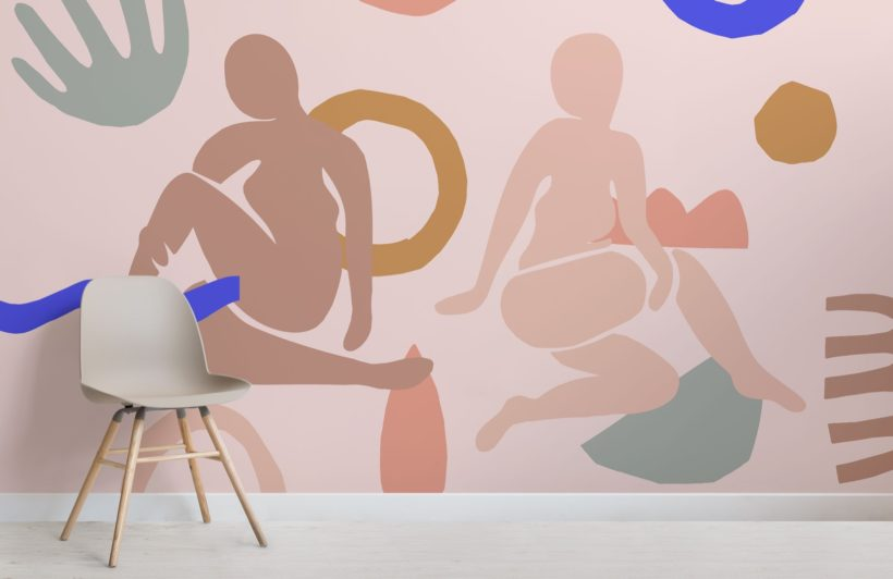 pastel-pink-shapes-abstract-wallpaper-mural-Room