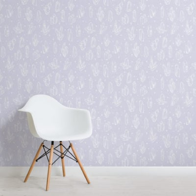 pastel purple illustrated crystal & star pattern wallpaper mural