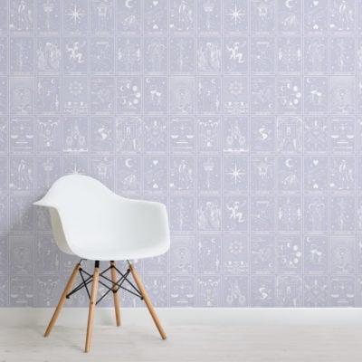 pastel purple tarot card pattern wallpaper mural