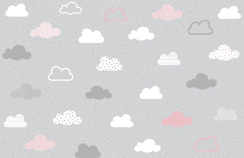 pink-and-grey-clouds-pattern-nursery-plain-wall-mural