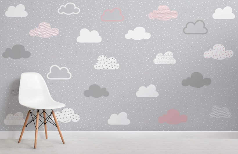 pink-and-grey-clouds-pattern-nursery-room-wall-mural