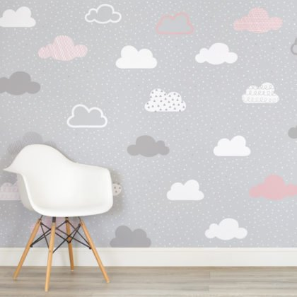 Pink & Grey Clouds Pattern Wallpaper Mural Image