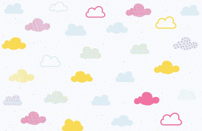 kids-bright-pastel-clouds-nursery-plain-wall-mural