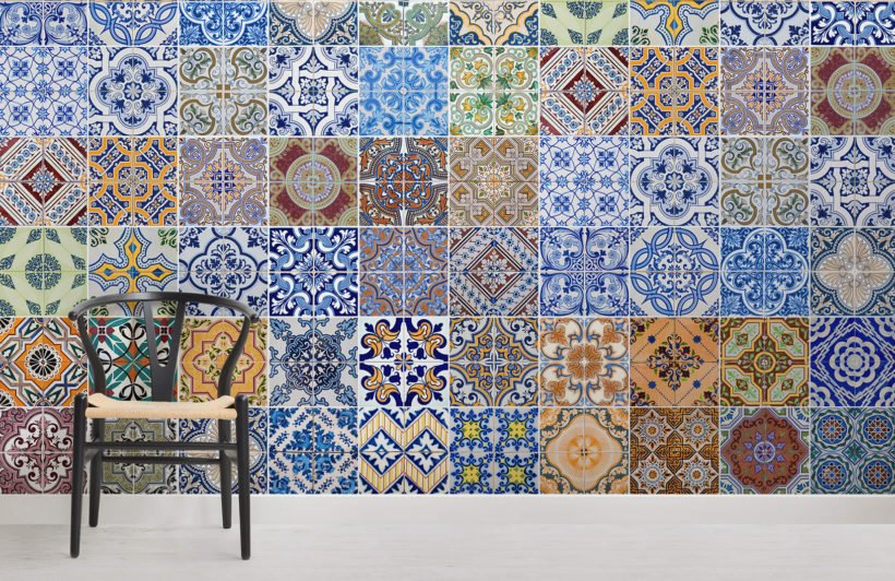 patterned-tile-room-wall-murals